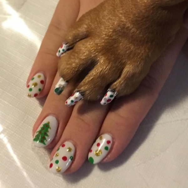 Matching Christmas nails